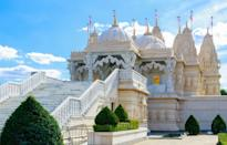 """<p><strong>Looks like: </strong>India</p><p>Shri Swaminarayan Mandir, more commonly known as 'Neasden Temple', is one of London's most beautiful buildings. Inaugurated in 1993, it is the first authentic Hindu temple and the first traditional stone temple in Europe. Modern materials such as steel and and iron were avoided in favour of traditional methods - the mandir required almost 3,000 tonnes of Bulgarian limestone and 2,000 tonnes of Italian marble. More than 26,000 individually numbered pieces of stone for the main mandir building were sent to a team of 1,500 sculptors in Gujarat, who carved and prepared them, before shipping them back to London to be assembled.</p><p><strong>Stay at:</strong> Neasden in northwest London is easily accessible by tube, so why not stay in leafy West Hampstead on the same tube line? <a href=""""https://www.onefinestay.com/search/west-hampstead/560/"""" rel=""""nofollow noopener"""" target=""""_blank"""" data-ylk=""""slk:onefinestay"""" class=""""link rapid-noclick-resp"""">onefinestay</a> has a range of stylish accommodation in the area.</p>"""