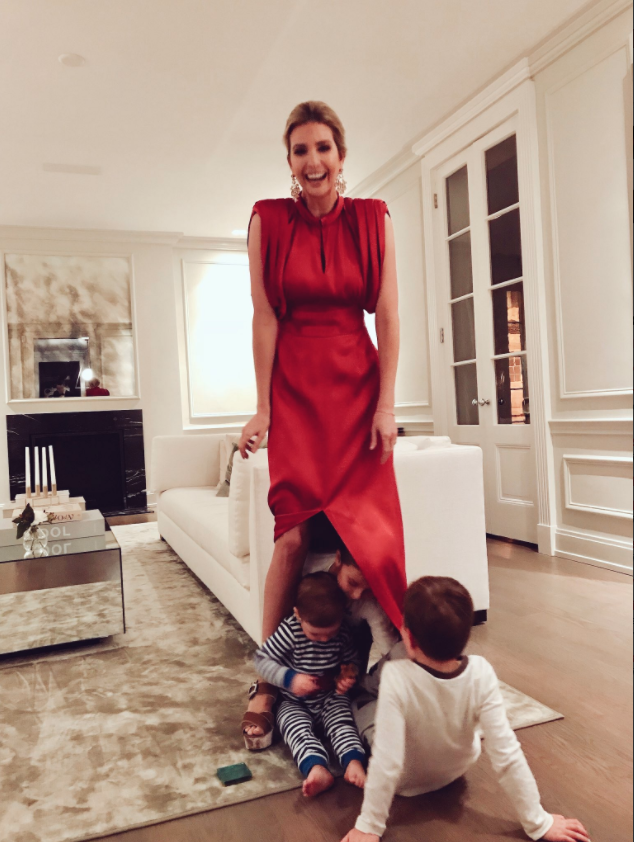 The 36-year-old, who has three children with Jared Kushner, uploaded a snap showing her standing in her living room wearing a stunning red dress. Photo: Instagram