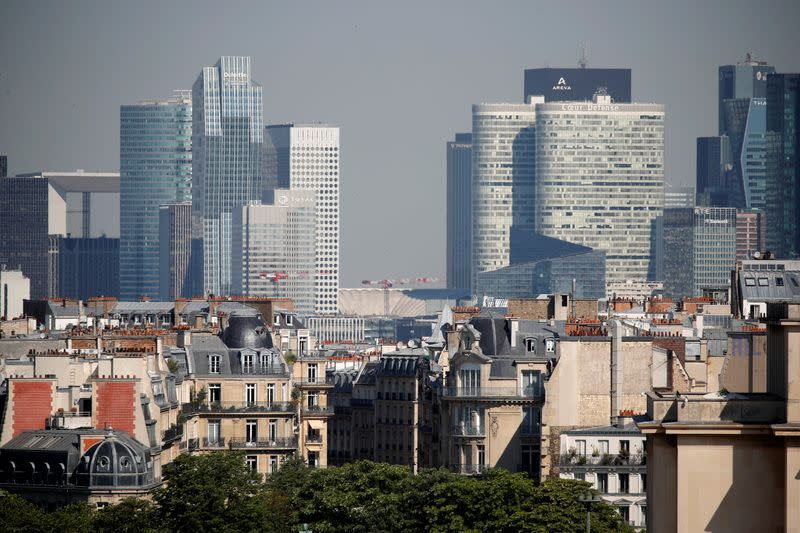 The skyline of La Defense business district seen from Paris