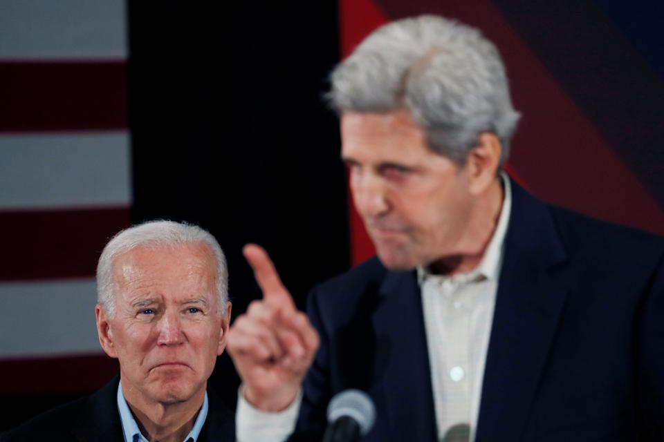 Former 2004 Democratic presidential nominee John Kerry campaigned for Biden's nomination in December 2019. (Photo: Shannon Stapleton / Reuters)