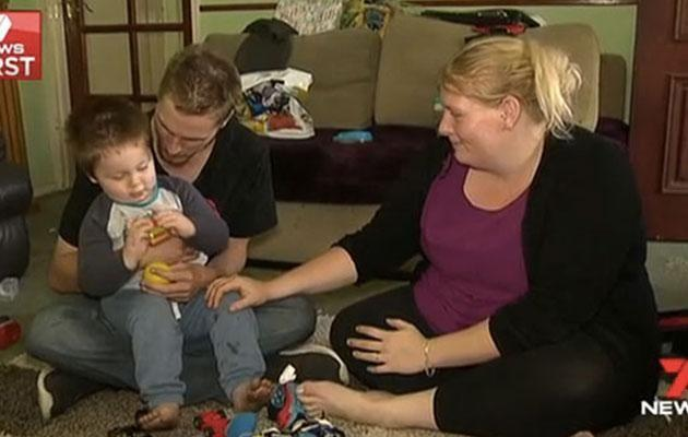 Kayden's parents, Jeremy Rainsford and Emma Granger, with two-year-old son Tyler. Source: Seven News