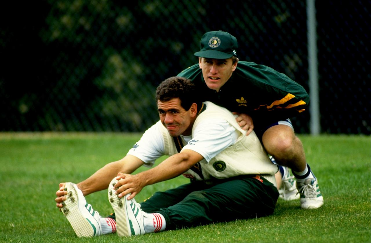 Dec 1993:  Hansie Cronje of South Africa stretches during a training session on their tour to Australia. \ Mandatory Credit: Ben  Radfod/Allsport