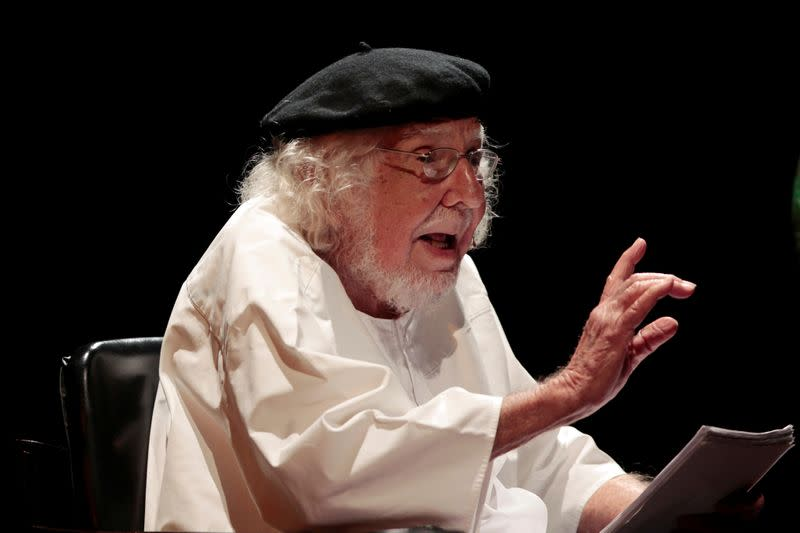 FILE PHOTO: Ernesto Cardenal speaks during a celebration for his 90th birthday at the National Theatre Ruben Dario in Managua