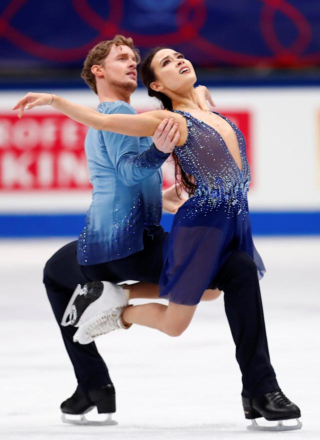 Figure Skating - World Figure Skating Championships - The Mediolanum Forum, Milan, Italy - March 24, 2018 Madison Chock and Evan Bates of the U.S. during the Ice Dance Free Dance REUTERS/Alessandro Garofalo