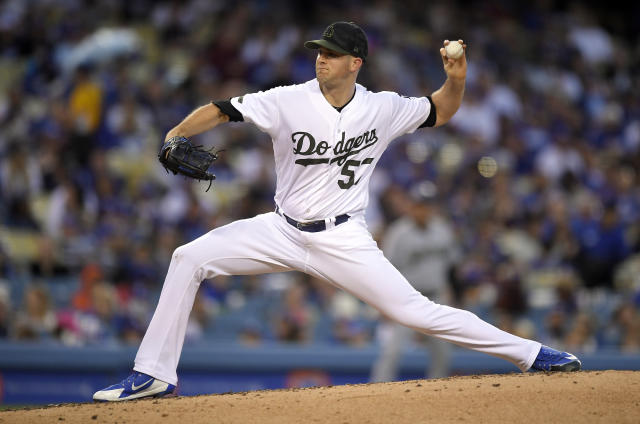 Los Angeles Dodgers starting pitcher Alex Wood throws during the third inning of the team's baseball game against the San Diego Padres on Saturday, May 26, 2018, in Los Angeles. (AP Photo/Mark J. Terrill)