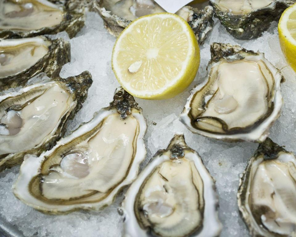 """<p>Oysters keep your immune system strong. A 3-oz serving (about 6 oysters) dishes up a quarter of your <a href=""""https://ndb.nal.usda.gov/ndb/foods/show/15171?max=25&qlookup=oyster+pacific&sort=default&format=Abridged&reportfmt=other&Qv=1&Qv=1&Q330743=6&Q330743=1&Q330744=3.0&Q330744=3.0"""" rel=""""nofollow noopener"""" target=""""_blank"""" data-ylk=""""slk:daily iron"""" class=""""link rapid-noclick-resp"""">daily iron</a>, a mineral that helps your blood transport oxygen to organs and tissue.</p><p><strong>Recipe to try: </strong><a href=""""https://www.womansday.com/food-recipes/food-drinks/recipes/a38065/frisee-fried-oysters-recipe-clv0612/"""" rel=""""nofollow noopener"""" target=""""_blank"""" data-ylk=""""slk:Frisée with Fried Oysters"""" class=""""link rapid-noclick-resp"""">Frisée with Fried Oysters</a></p>"""