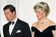 """<p>Royal women are not supposed to show cleavage. Princess Diana's iconic fashion didn't always <a href=""""https://www.goodhousekeeping.com/beauty/fashion/news/a44343/diana-cleavage-bags/"""" rel=""""nofollow noopener"""" target=""""_blank"""" data-ylk=""""slk:fit the bill"""" class=""""link rapid-noclick-resp"""">fit the bill</a>, which is why she always used her clutch to cover up as she was climbing out of cars.</p>"""