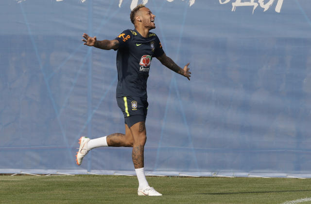 Brazil's Neymar smiles during a training session, in Sochi, Russia, Friday, June 29, 2018. Brazil will face Mexico on July 2 in the round of 16 for the soccer World Cup. (AP Photo/Andre Penner)