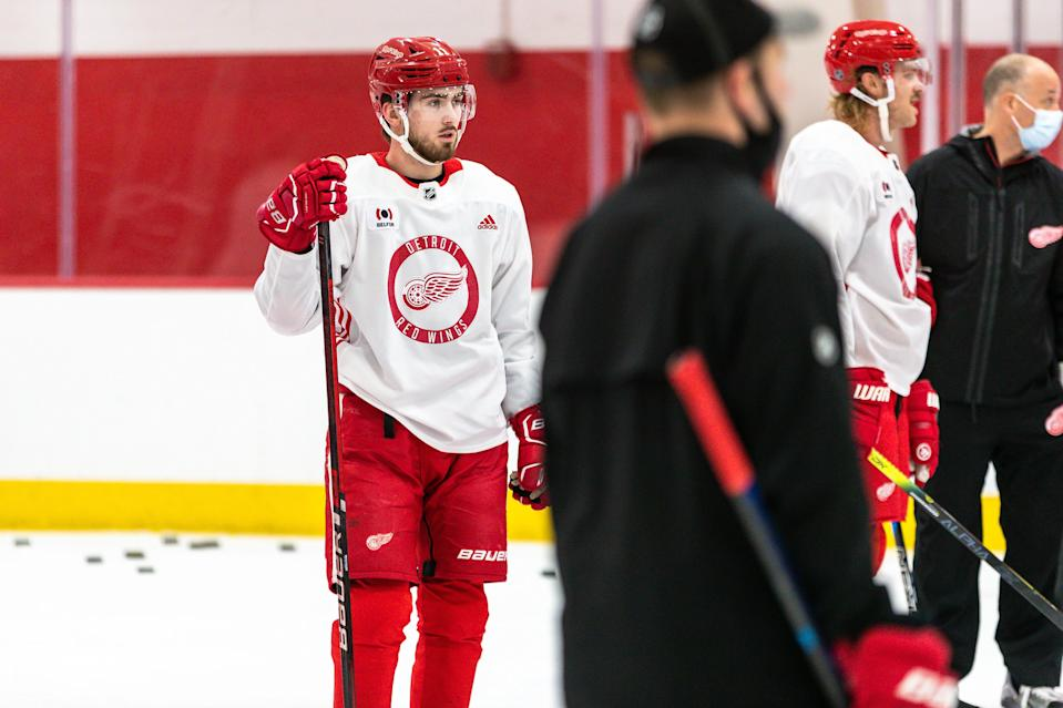 Detroit Red Wings' Filip Zadina during the first training camp practice at the Little Caesars Arena practice rink, Jan. 1, 2021.