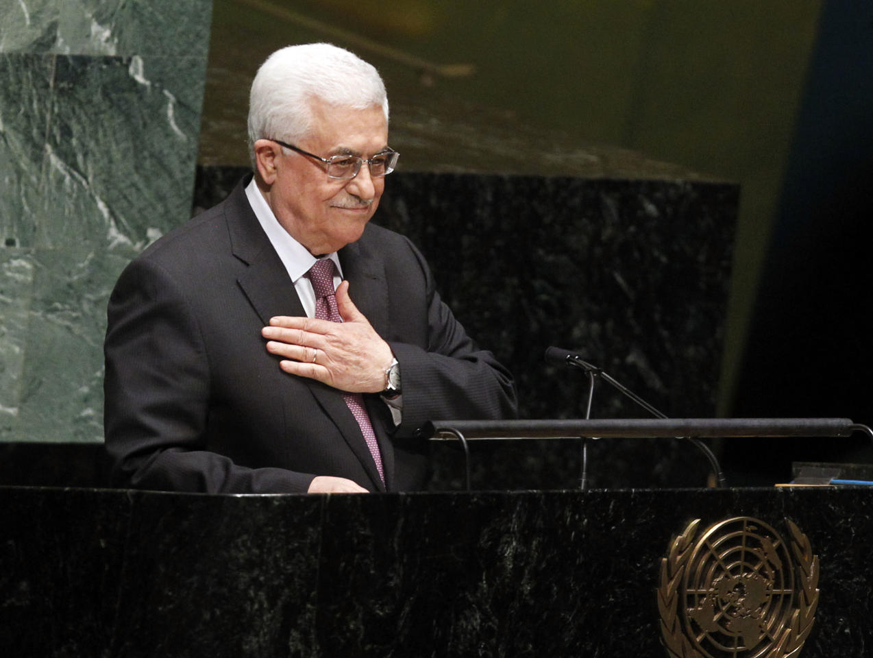 IMAGE DISTRIBUTED FOR AVAAZ - President of the Palestinan National Authority Mahmoud Abbas addresses the U.N. General Assembly before the body's historic vote to recognize Palestine as its 194th State at U.N. Headquarters, Thursday, Nov. 29, 2012. (Jason DeCrow/AP Images for Avaaz)