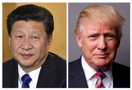 Montagem de fotos do presidente da China, Xi Jinping, e do presidente dos Estados Unidos, Donald Trump.