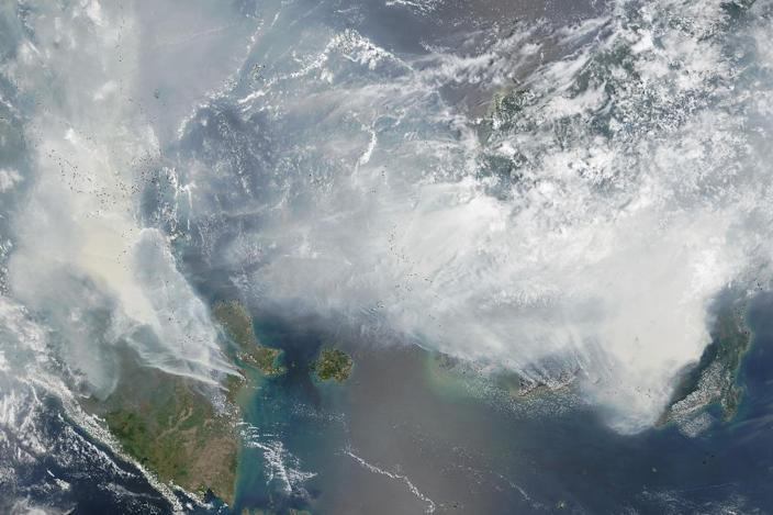Smoke from Indonesia forest fires pictured on NASA's Terra satellite on September 24, 2015 (AFP Photo/)