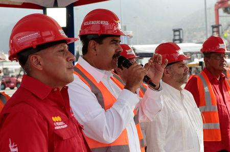 Venezuela's President Nicolas Maduro speaks during the opening ceremony of a container terminal at the port in La Guaira