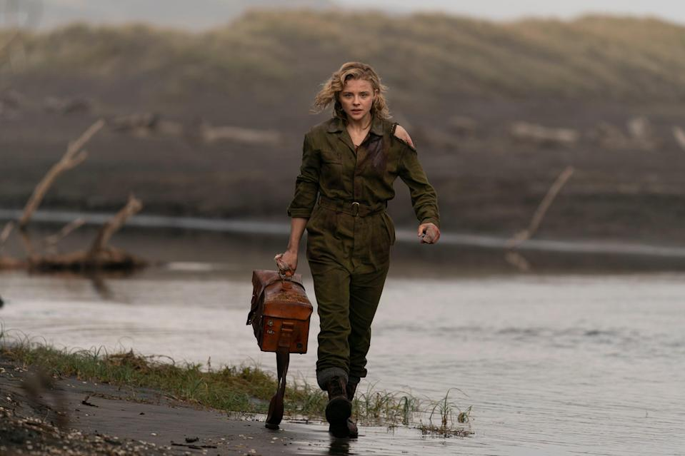 """Chloe Grace Moretz is a World War II flight officer who battles a monster on her plane in the horror action thriller """"Shadow in the Cloud."""""""
