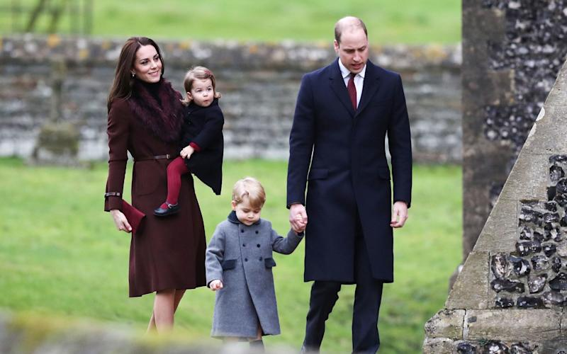 The Cambridge family attend the Christmas Day service at St Mark's Church in Englefield, England
