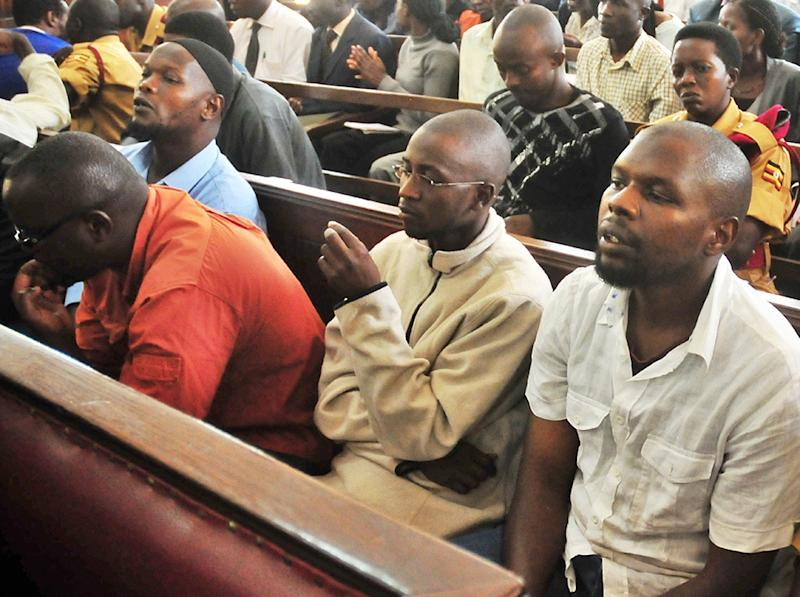 Some of the 12 suspected Al-Shebab-linked terrorists appear in a court on November 15, 2011, to face charges in connection with a twin-terrorist attack in July 2010 that killed at least 76 people in Kampala, Uganda (AFP Photo/)