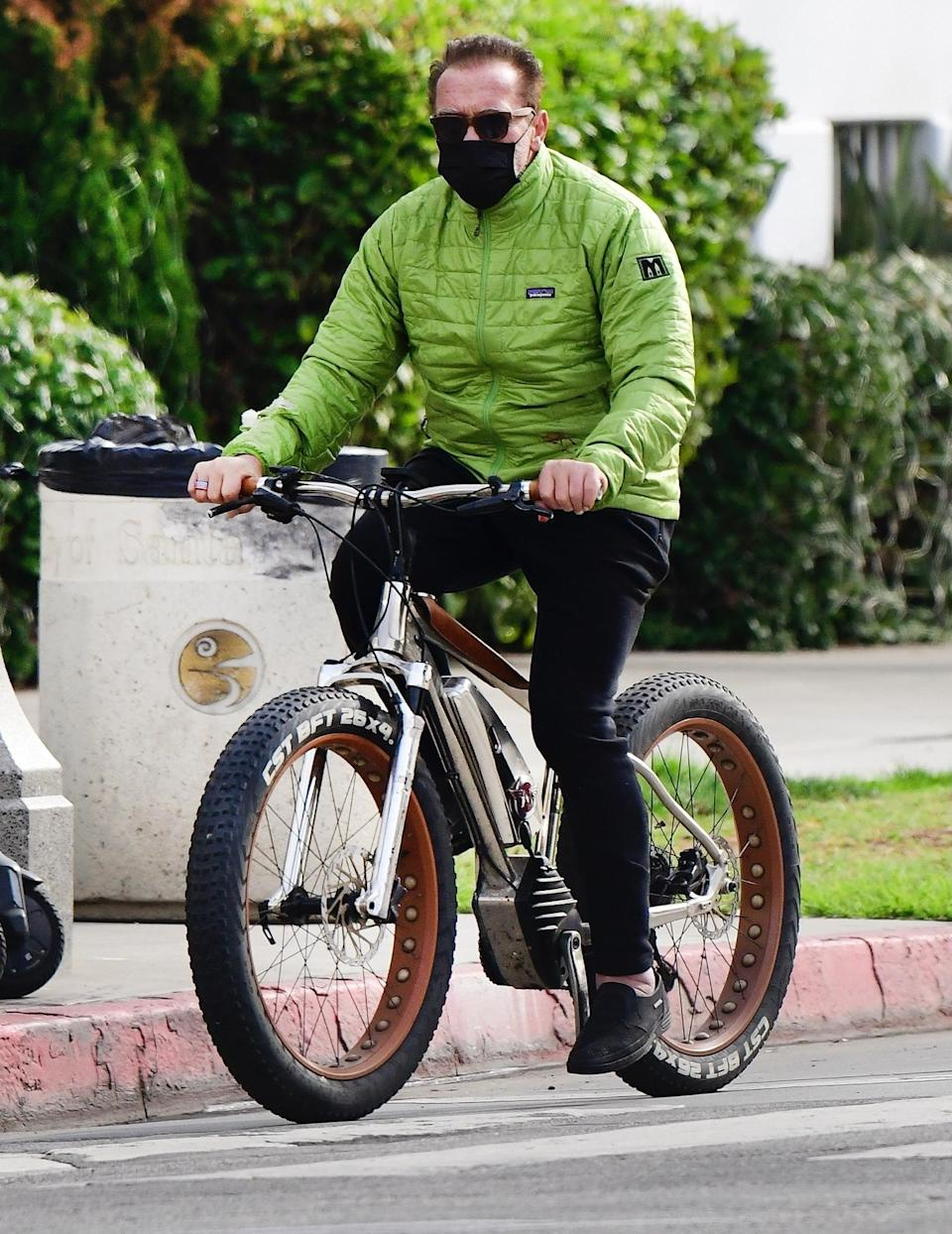 <p>Another day, another bike ride for Arnold Schwarzenegger, who takes a Thursday spin around Santa Monica, California. </p>