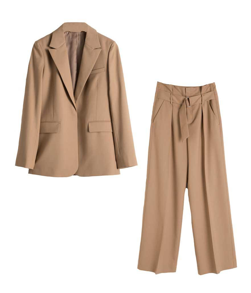 """<p>& Other Stories Wool Blend Belted Trousers, $119, <a href=""""https://fave.co/2Izs4Gh"""" rel=""""nofollow noopener"""" target=""""_blank"""" data-ylk=""""slk:stories.com"""" class=""""link rapid-noclick-resp"""">stories.com</a><br>& Other Stories Wool Blend Tailored Blazer, $149, <a href=""""https://fave.co/2Rj4UrI"""" rel=""""nofollow noopener"""" target=""""_blank"""" data-ylk=""""slk:stories.com"""" class=""""link rapid-noclick-resp"""">stories.com</a> </p>"""