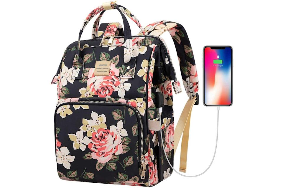 Vsnoon laptop backpack with USB chargin port in floral