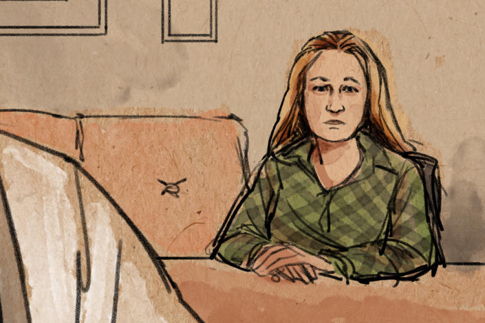 In this courtroom sketch, former Brooklyn Center police Officer Kim Potter makes her first court appearance, over Zoom, in the traffic-stop shooting death of Black motorist Daunte Wright, Thursday, April 15, 2021, in Brooklyn Center, Minn. (Cedric Hohnstadt via AP)