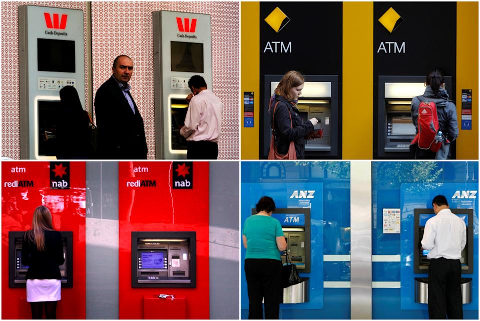 "FILE PHOTO - A combination of photographs shows people using automated teller machines (ATMs) at Australia's ""Big Four"" banks - Australia and New Zealand Banking Group Ltd (bottom R), Commonwealth Bank of Australia (top R), National Australia Bank Ltd (bottom L) and Westpac Banking Corp (top L).    REUTERS/Staff/File photo"