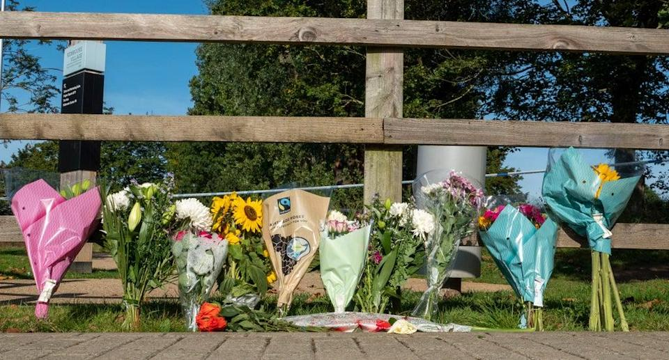 Floral tributes are left for Ms Nessa (Mark Large/Daily Mail.)