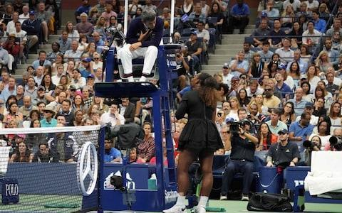 "<span><a class=""link rapid-noclick-resp"" href=""/olympics/rio-2016/a/1132744/"" data-ylk=""slk:Serena Williams"">Serena Williams</a> of the US argues with chair umpire Carlos Ramos</span> <span>Credit:  AFP </span>"