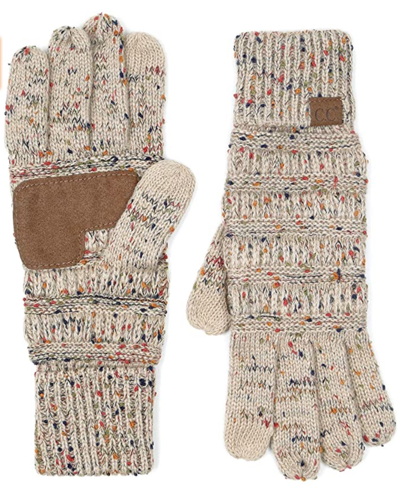 Funky Junque Winter Lined Warm Knit Touchscreen Texting Gloves in Oatmeal/Confetti