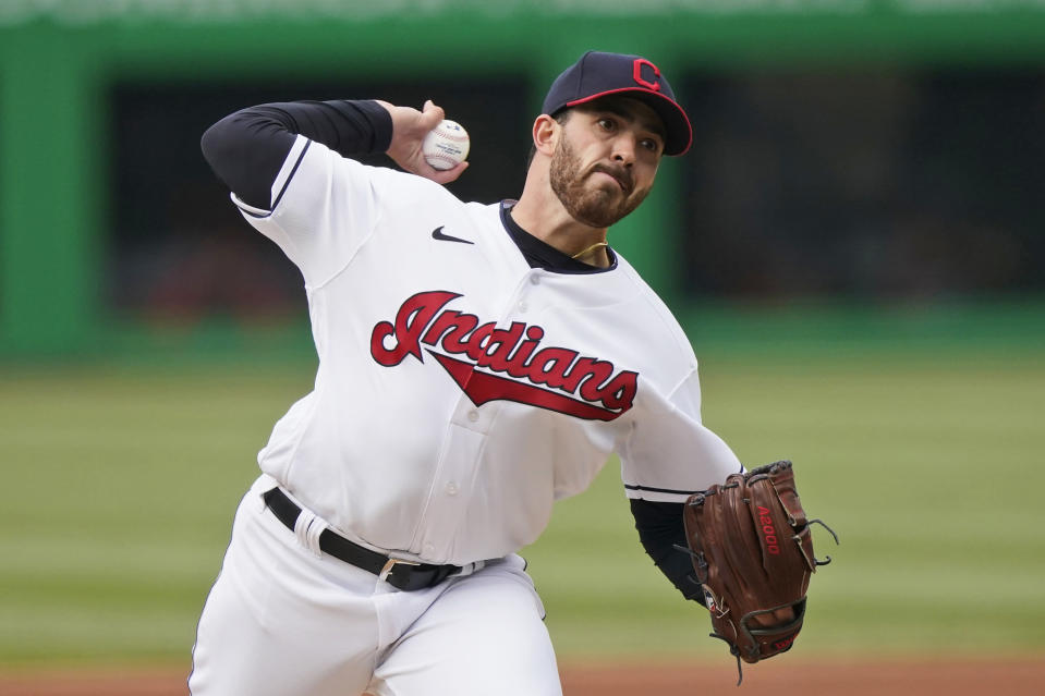Cleveland Indians starting pitcher Aaron Civale delivers in the first inning of a baseball game against the New York Yankees, Thursday, April 22, 2021, in Cleveland. (AP Photo/Tony Dejak)