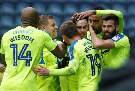 Soccer Football - Championship - Preston North End vs Derby County - Deepdale, Preston, Britain - April 2, 2018 Derby County's Tom Lawrence celebrates with teammates after he scores his sides first goal Action Images/Craig Brough