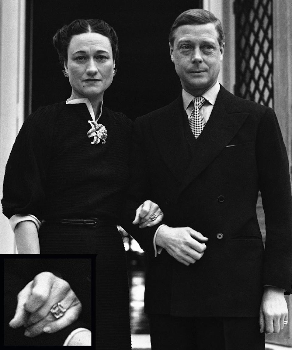 <p>Prince Edward abdicated the throne for his American sweetheart Wallis, and proposed to her with an almost 20-carat diamond ring to seal the deal. The two married in 1937.</p>