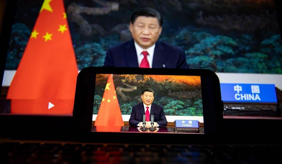 Chinese President Xi Jinping, in a pre-recorded address to the United Nations General Assembly in New York on Tuesday, announcing that China would stop financing coal power plants overseas. Photo: Bloomberg