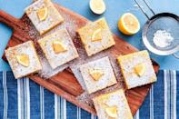 """<p>These lemon bars need some time to chill, so they're a great treat to make ahead of time. </p><p><em><strong>Get the recipe at <a href=""""https://www.delish.com/cooking/recipe-ideas/a52125/easy-lemon-bars-recipe/"""" rel=""""nofollow noopener"""" target=""""_blank"""" data-ylk=""""slk:Delish"""" class=""""link rapid-noclick-resp"""">Delish</a>. </strong></em></p>"""