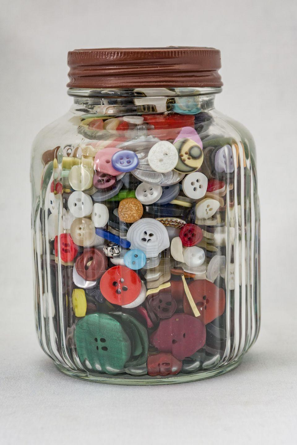 <p>I have many fond memories of Gram's can of sequins and buttons that she hoarded for the craft projects we made together. Save all those fun little scraps: bits of ribbon, cute little glass jam jars, broken costume jewelry, little cardboard berry containers, etc. Toss everything in a plastic container, and you'll be surprised at how many creative uses you'll find for these treasures.</p>