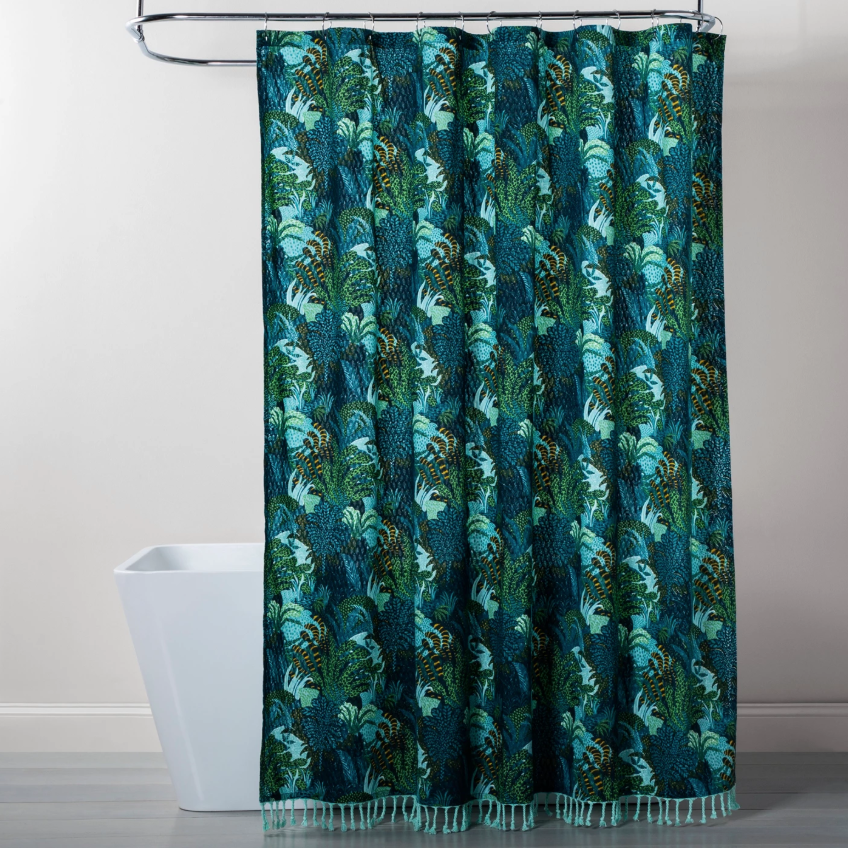 "An alternative to putting actual houseplants in your bathroom. <a rel=""nofollow"" href=""https://www.target.com/p/jungle-print-shower-curtain-green-opalhouse-153/-/A-54049057"" rel=""nofollow"">SHOP NOW</a>: Jungle Print Shower Curtain Green by Opalhouse, $25, target.com"