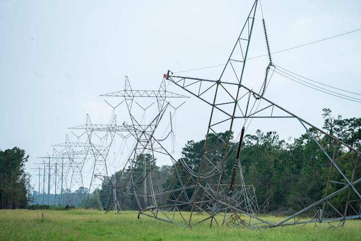Hurricane Laura's high winds wreaked havoc on these transmission towers and big kilovolt lines in Moss Point, Louisiana. The repairs to the area's power infrastructure will take week.