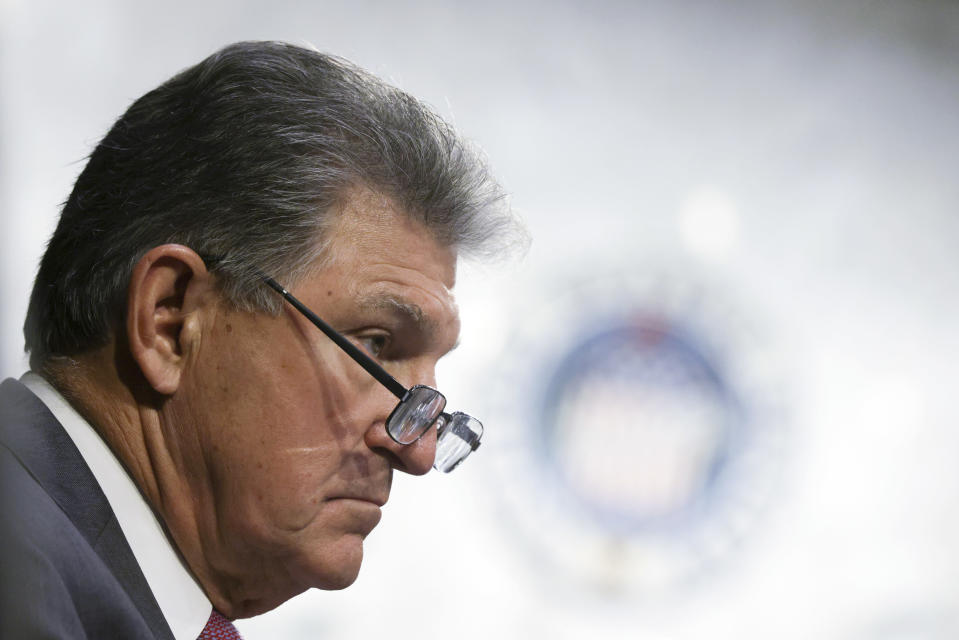 Sen. Joe Manchin, D-W.Va., listens during a Senate Appropriations committee hearing, Wednesday, May 12, 2021 on Capitol Hill in Washington. Democrats are trying to settle on a strategy for combating a wave of restrictive voting bills from Republican-controlled states. (Alex Wong/Pool via AP)