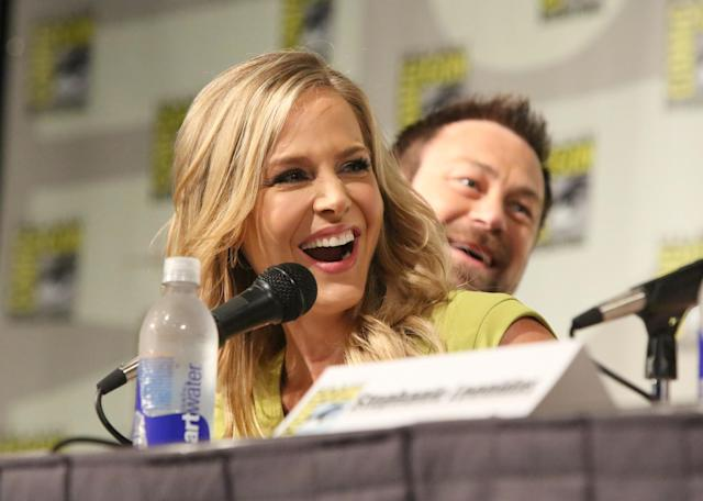 "Grant Bowler and Julie Benz at the ""Defiance"" Panel in San Diego, CA on Friday, July 19, 2013."