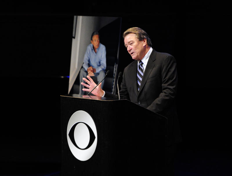 "In this image released by CBS, Steve Kroft, Co-Editor, ""60 Minutes"" speaks at the CBS News memorial service for Mike Wallace at Jazz at Lincoln Center in New York on Tuesday, May 1, 2012. Wallace died at age 93 on April 7. (AP Photo/CBS, John Paul Filo)"