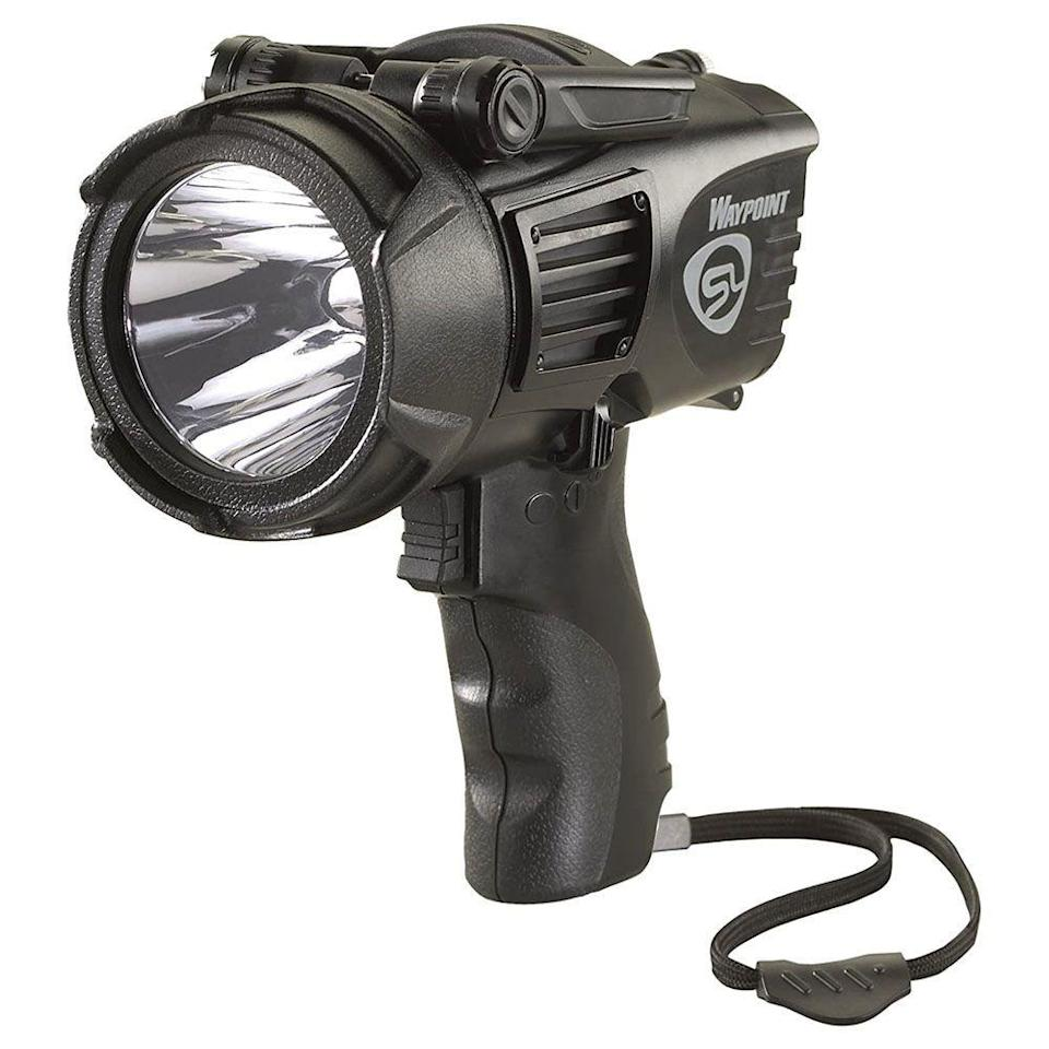 """<p><strong>STREAMLIGHT</strong></p><p>amazon.com</p><p><strong>$54.93</strong></p><p><a href=""""https://www.amazon.com/dp/B003GXFBHA?tag=syn-yahoo-20&ascsubtag=%5Bartid%7C10060.g.37899122%5Bsrc%7Cyahoo-us"""" rel=""""nofollow noopener"""" target=""""_blank"""" data-ylk=""""slk:Shop Now"""" class=""""link rapid-noclick-resp"""">Shop Now</a></p><p><strong>Key Specs:</strong></p><ul><li><strong>Lumen</strong>: 1,000</li><li><strong>Waterproof</strong>: IPX8</li><li><strong>Weight</strong>: 2.2 pounds</li><li><strong>Runtime</strong>: 3 hours on high; 80 hours on low</li></ul><p>It's more expensive than the other options on this list, but if you need an ultra-bright, waterproof light, this model could be worth the price. </p><p>Its IPX8 rating means that it can be totally submerged in water for up to 30 minutes, and with a 1,000-lumen output is visible up to 2,200 feet away. Its C4 LEDs have a 50,000 hour lifespan, and the lithium-ion battery can be recharged up to 800 times. </p><p>An adjustable rotary switch also makes it easy to scroll through the three separate power outputs, from 35 to 550 to 1,000 lumens. </p>"""