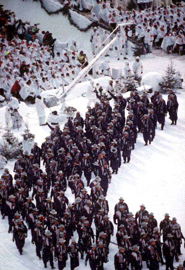 12 FEB 1994: THE USA TEAM OLYMPIC STADIUM AT THE OPENING CEREMONY OF THE 1994 WINTER OLYMPICS IN LILLEHAMMER. Mandatory Credit: Nathan Bilow/ALLSPORT