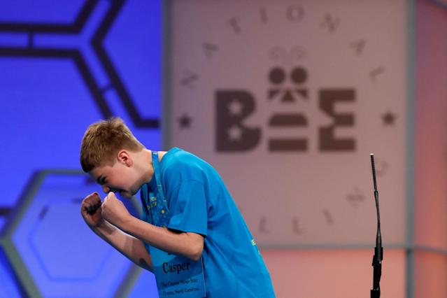 <p>Casper Smith, 13, from Clayton, N.C., celebrates after correctly spelling his word during the 90th Scripps National Spelling Bee in Oxon Hill, Md., Wednesday, May 31, 2017. (AP Photo/Jacquelyn Martin) </p>