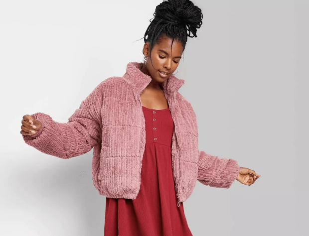 """<p>Wild Fable Women's Feathered Cord Puffer Jacket (available in plus sizes), $38, <a href=""""https://rstyle.me/+diXdjhs80EmectCdgJT3Ow"""" rel=""""nofollow noopener"""" target=""""_blank"""" data-ylk=""""slk:available here"""" class=""""link rapid-noclick-resp"""">available here</a></p>"""