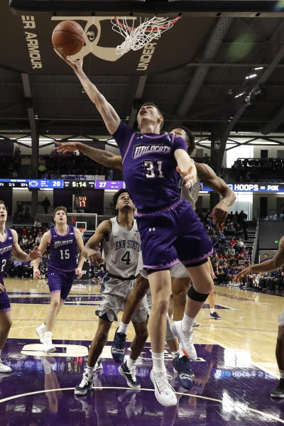 Northwestern forward Robbie Beran (31) shoots against Penn State during the first half of an NCAA college basketball game in Evanston, Ill., Saturday, March 7, 2020. (AP Photo/Nam Y. Huh)