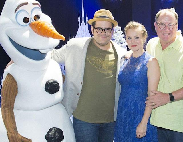 <em>Frozen</em> stars Josh Gad and Kristen Bell flanked by Olaf and Disney Animation boss John Lasseter at 2015's D23 Expo. (Photo: Disney)