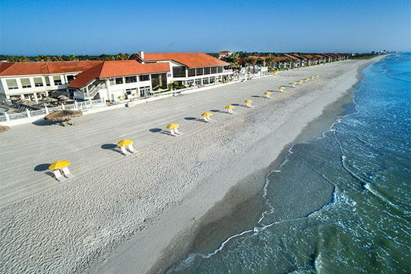 """<p>If it's an old Florida vibe you seek, you'll find it at the stately <a href=""""https://www.pontevedra.com/inn_and_club/"""" rel=""""nofollow noopener"""" target=""""_blank"""" data-ylk=""""slk:Ponte Vedra Inn & Club"""" class=""""link rapid-noclick-resp"""">Ponte Vedra Inn & Club</a>, a AAA Five-Diamond stunner just outside Jacksonville. Your festivities can be centered around the stunning coastline on the ocean lawn or the oceanfront courtyard, or you can move to the inn's popular rooftop terrace or the Surf Club's Patio. Guests can enjoy the property's full-service spa, two championship golf courses, tennis, and several fine dining options.</p>"""