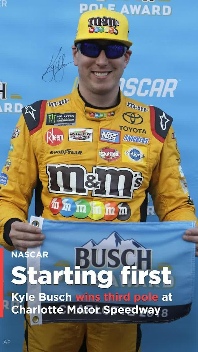Kyle Busch has a good starting spot as he chases his first Cup Series points win at Charlotte Motor Speedway.