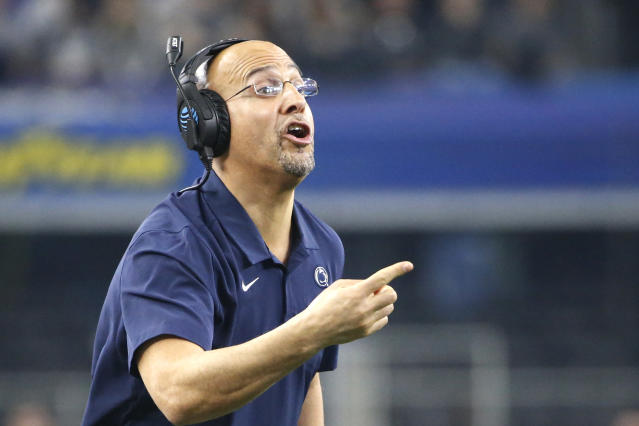 Penn State head coach James Franklin calls a play as Penn State plays Memphis in the first half of the NCAA Cotton Bowl college football game, Saturday, Dec. 28, 2019, in Arlington, Texas. (AP Photo/Ron Jenkins)