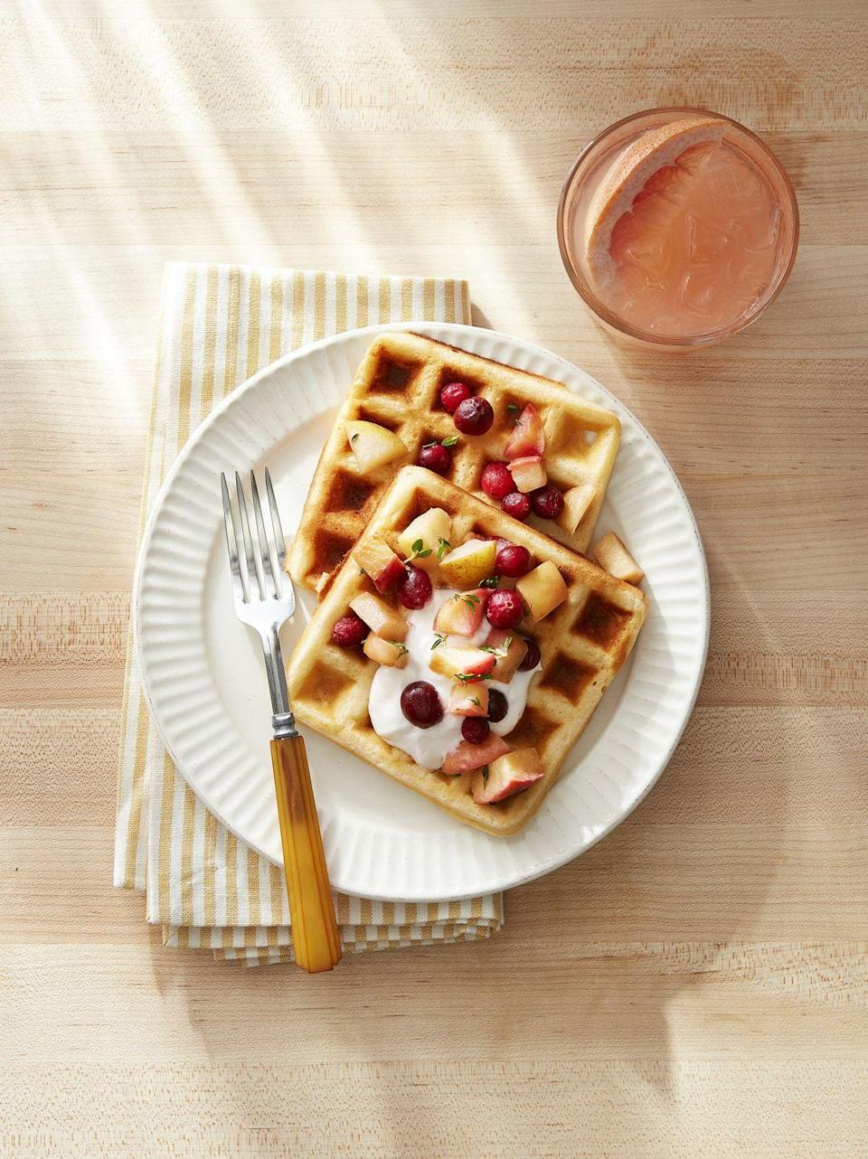 """<p>Treat yourself and the family to a decadent-but-light brunch by whipping this batter Saturday, and storing it in the fridge until the morning.</p><p><strong><a href=""""https://www.countryliving.com/food-drinks/a34275535/overnight-yeasted-waffles/"""" rel=""""nofollow noopener"""" target=""""_blank"""" data-ylk=""""slk:Get the recipe"""" class=""""link rapid-noclick-resp"""">Get the recipe</a>.</strong></p><p><strong><a class=""""link rapid-noclick-resp"""" href=""""https://www.amazon.com/DASH-No-Drip-Belgian-Waffle-Maker/dp/B07BTQGBFW/?tag=syn-yahoo-20&ascsubtag=%5Bartid%7C10050.g.1642%5Bsrc%7Cyahoo-us"""" rel=""""nofollow noopener"""" target=""""_blank"""" data-ylk=""""slk:SHOP WAFFLE MAKERS"""">SHOP WAFFLE MAKERS</a></strong> </p>"""
