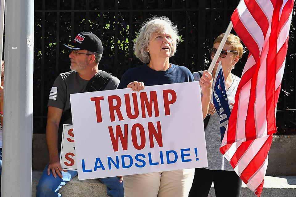 "A President Trump supporter holds a sign at a ""Stop The Steal"" rally in Atlanta. (Rich von Biberstein/Icon Sportswire via Getty Images)"